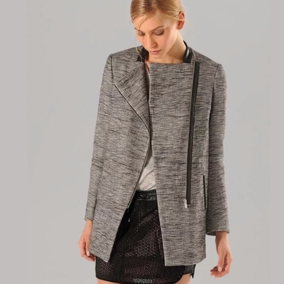 6ecf4a0859d5 Maje Jackets   Blazers - Maje Circus Grey Tweed Asymmetrical Leather Jacket